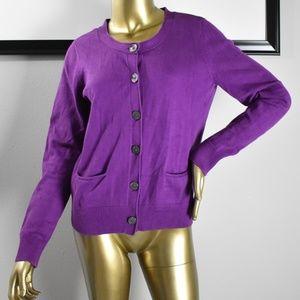 J JILL Purple Stretch Womens Sweater Cardigan S 4
